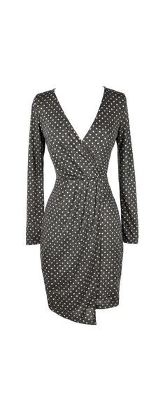 Fun and Function Surplice Polka Dot Dress  www.lilyboutique.com