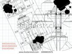 Blueprints. Mechanical engineering drawings. Technical Design. Cover. Banner. Draft. Black Ink. Blots #bubushonok #art #bubushonokart #design #vector #shutterstock #technical #engineering #drawing #blueprint  #technology #mechanism #draw #industry #construction #cad