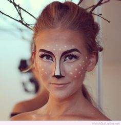 Christmas makeup, like a deer