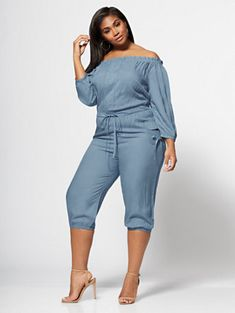 Kaylee Off Shoulder Bell Sleeve Romper - Fashion To Figure Plus Size Fashion For Women, Black Women Fashion, Curvy Fashion, Womens Fashion, Ladies Fashion, Plus Size Summer Dresses, Plus Size Outfits, Best Plus Size Jeans, Plus Size Romper