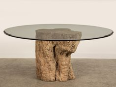 Awesome Teak Tree Trunk Table With Circled Glass Top As Inspiring Cocktail Table Ideas With Natural Trees In White Living Room Furniture Decors