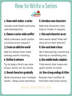 Learn how to write a series so you can build a captive audience that eagerly anticipates each novel's sequel. Try these 10 series-writing tips. Creative Writing Tips, Book Writing Tips, Writing Words, Writing Quotes, Fiction Writing, Writing Resources, Writing Skills, Writing Outline, Writing A Novel
