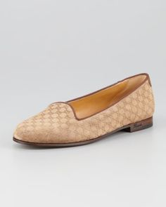 Micro Guccissima Suede Smoking Slipper, Medium Brown by Gucci at Neiman Marcus.