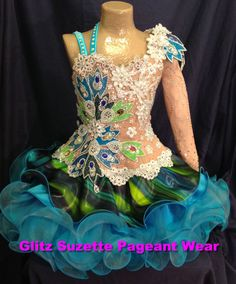 New National Level High Glitz Girls Illusion Pageant Dress. WITHOUT THE STRIPE LAYER!