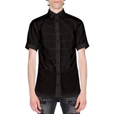 Alexander Mcqueen Rib Cage Velvet Short-Sleeve Shirt ($465) ❤ liked on Polyvore featuring men's fashion, men's clothing, men's shirts, men's casual shirts, black, mens casual short sleeve shirts, mens short sleeve shirts, mens slim fit casual shirts, mens slim shirts and alexander mcqueen mens shirt