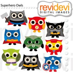 Superhero owls clip arts. These digital images are great for any craft and creative projects.  $5.90