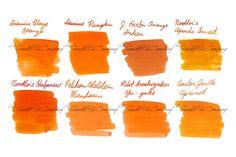 orange fountain pen ink swatches