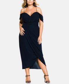 e68a82fb43f City Chic Trendy Plus Size Off-The-Shoulder Tulip-Hem Midi Dress - Blue 22W