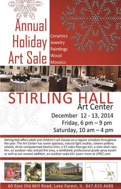 Holiday Art Sale December 12 - 1 at Stirling Hall Art center, Lake Forest  #LilLakeCo #LakeCountyIL #VisitLakeCounty #lakeforest #art