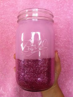 DIY glitter/paint mason jar for a glam makeup brush holder