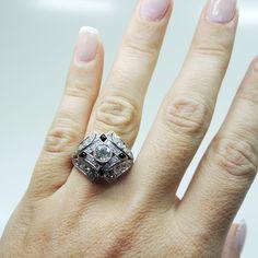 Antique Art Deco Platinum Diamond & Onyx Ring