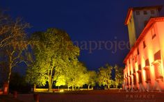 ALMA Project @ Villa Corsini a Mezzomonte - facade LED + tree trees uplights amber red