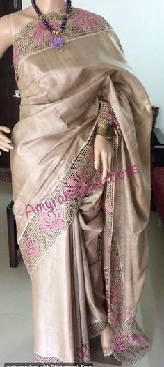 Whatsapp on 9496803123 for details and customisation.we do all types of handembroidery, appliqué work, cutwork, maggam work, bridal wear etc Cutwork Saree, Tussar Silk Saree, Indian Attire, Indian Wear, Pearl Embroidery, Hand Embroidery, Embroidery Designs, Simple Blouse Designs, Kurti Patterns