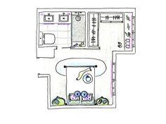 Plano: dormitorio tipo suite con baño y vestidor