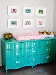nursery-teal baby change table drawers.jpg... yard sale-paint-worthy dresser for Vincent!
