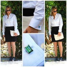 What I wore: Crisp White Shirt and lady Cufflinks