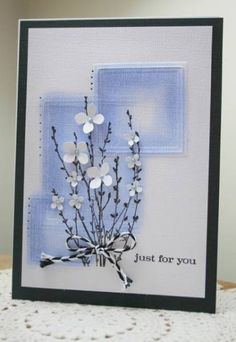 Stamps: su Just Believe, hero arts branch  Paper: white texture  Ink: black pallette  Accessories: nesties, chalks, ms punch, twine