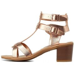 Charlotte Russe Rose Gold Bamboo Metallic T-Strap Block Heel Sandals... ($30) ❤ liked on Polyvore