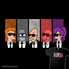 """Future Dogs"" by Melonseta Fry, Bender, Professor Farnsworth, Zoidberg, and Leela from Futurama in the style of Reservoir Dogs"