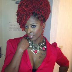 Red loc updo - glamour #naturalhair