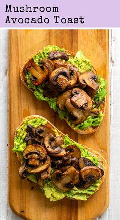 Mushroom Avocado Toast - This simple and flavorful vegan avocado toast is topped with warm skillet mushrooms and has a mildly garlic flavor. Mushroom Avocado Toast is perfect for brunch! Vegan Breakfast Recipes, Vegetarian Recipes, Breakfast Ideas, Vegan Avocado Recipes, Vegan Recipes Plant Based, Breakfast Toast, Avocado Toast Recipe Vegan, Healthy Organic Recipes, Healthy Mushroom Recipes