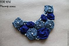Create a textile necklace with roses - Fair Masters - handmade, handmade Fabric Flower Necklace, Fabric Jewelry, Denim Ideas, Denim Crafts, Necklace Tutorial, Bib Necklaces, Crochet Handbags, Fabric Flowers, Jewelry Crafts
