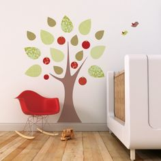 Apple Tree Fabric Decal. I HAVE to have this on our playroom wall!! I wanted red for the room and this is good for girls and boys (in case #2 is a dude) but I am not a fan of $130....maybe I could create it myself?