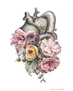 Floral Anatomy: Heart Watercolor Painting 8x10 by tinyartshop