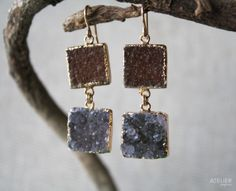 Square Drusy Earrings in Goldfilled Earwires by ATELIERGabyMarcos, $159.00