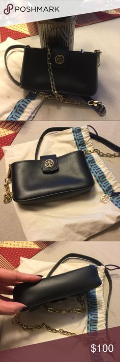 Tory Burch Authentic small black leather purse.  Adorable!!! I simply can't fit my iPhone 6 Plus phone.  I've used only a handful of times. Tory Burch Bags Crossbody Bags