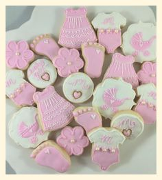 Pink baby shower mini cookies by Sweet Treatz Cake Pops www.facebook.com/sweettreatzcakepops