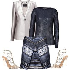 A fashion look from March 2014 featuring Ralph Lauren Black Label sweaters, L.K.Bennett jackets and Kenzo skirts / Polyvore