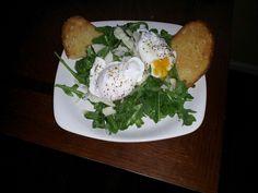 Arugula Salad with Poached Egg and Crostini