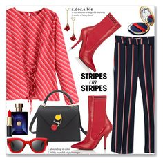 """""""Pattern Challenge: Stripes on Stripes (Work Wear)"""" by jecakns ❤ liked on Polyvore featuring MANGO, Versace, Fendi and Bésame"""