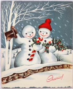 50s Mr & Mrs Snowman- Vintage Christmas Greeting Card