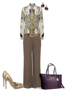 """""""I Work Hard"""" by sweetnuff ❤ liked on Polyvore featuring Versace, Monsoon, Biba, Coach, Nine West and Holy Harlot"""
