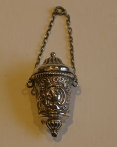 Antique English Sterling Silver Chatelaine Thimble Holder - 1893