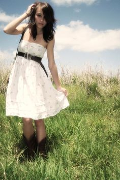 Cowboy boots and a white dress...can't go wrong