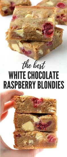White Chocolate and Raspberry Blondies - Raspberries - Ideas of Raspberries - OH my word! These are the BEST blondies ive ever had! Theyre perfectly buttery with plenty of brown sugar and stuffed with white chocolate and raspberries. Recipe from Brownie Recipes, Cake Recipes, Dessert Recipes, Healthy Desserts, Choc Brownie Recipe, Food Recipes Snacks, Best Food Recipes, Chocolate Biscuit Recipe, Dinner Recipes