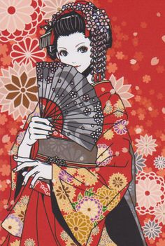 kimono postcard by Eri Kamijo Geisha Kunst, Geisha Art, Anime Kunst, Anime Kimono, Art And Illustration, Manga Art, Anime Art, Japan Art, Anime Style