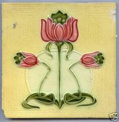 art deco flower tile | Art Nouveau Majolica tile PURE ART NOUVEAU FLOWER