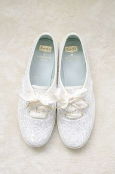 White glitter sneakers for the bride! Fun bridal shoe wedding idea.