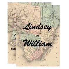 Vintage Charleston SC Map Wedding Invitation - wedding invitations diy cyo special idea personalize card