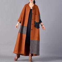 """Patchwork Long Single Breasted Wool Blend Women Tassel Coat Type: Women Coat Style: Casual Material: Wool Season: Autumn Collar: Stand Color: Brown, Red Size: One Size Length: – cm / – """"Bust: cm / Shoulder: cm / """" Sleeve Length: cm / """"The model height:. Abaya Fashion, Muslim Fashion, Kimono Fashion, Boho Fashion, Fashion Dresses, Fashion Design, Abaya Mode, Mode Hijab, Types Of Coats"""