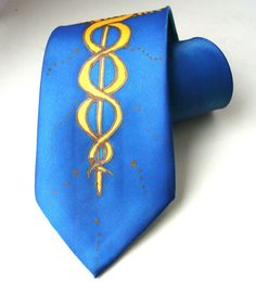 Medical Caduceus Tie Medical Symbol Doctor Tie Hand by silkiness, $37.00