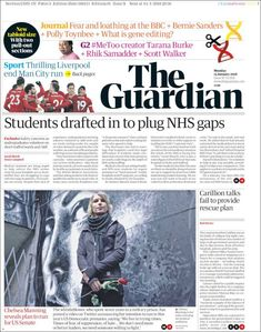The Guardian newspaper has unveiled a simplified and smaller tabloid format, as well as a website redesign that includes the launch of a new logo and font. Newspaper Logo, Newspaper Design, Newspaper Format, Newspaper Layout, Fear And Loathing, News Us, Climate Change Effects, Latest World News, International News