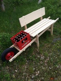 This is quite a different and unique style of the recycled wood pallet creation for your garden use. This creation is two in one services for you. Within this creation we have the setting of the simple wood pallet bench with the rolling wheel stand in it that can be used for moving bottle rack here and there.