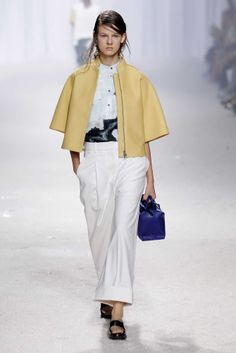Wide-leg pants ($395) look chic with a cropped boxy jacket ($550), as seen here on 3.1 Phillip Lim's spring runway; at 31philliplim.com (Credit: Getty Images / Peter Michael Dills)