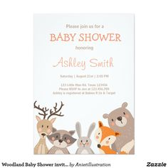 Woodland Baby Shower invite Animals Forest ♥ A cute and fun baby shower invite! All handdrawn! Woodland Baby Shower theme.