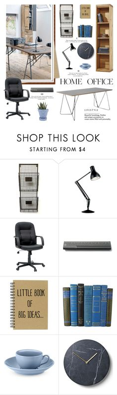 """""""Work Hard: Home Office"""" by lacas ❤ liked on Polyvore featuring interior, interiors, interior design, home, home decor, interior decorating, Anglepoise, Williams-Sonoma, Menu and Chive"""